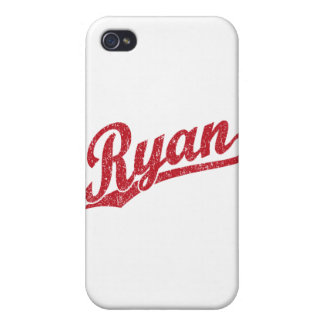 Ryan Distressed Red Script Logo iPhone 4 Cases