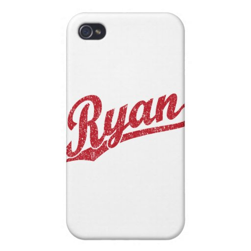 Ryan Distressed Red Script Logo iPhone 4 Cases