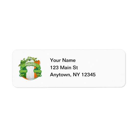 Ryan Irish Shield Return Address Label