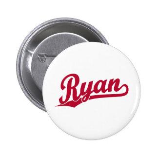 Ryan Red Script Logo Button