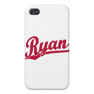 Ryan Red Script Logo Cover For iPhone 4