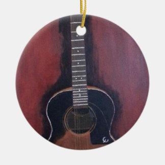 Ryan's Guitar Round Ceramic Ornament