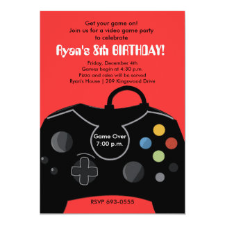 "RYAN'S VIDEO GAME PARTY 5"" X 7"" INVITATION CARD"