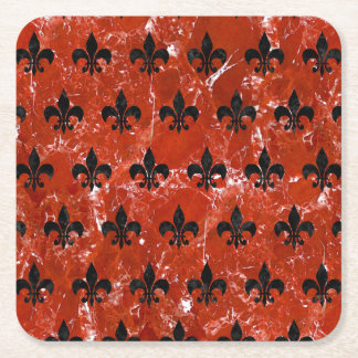 RYL1 BK-RD MARBLE SQUARE PAPER COASTER