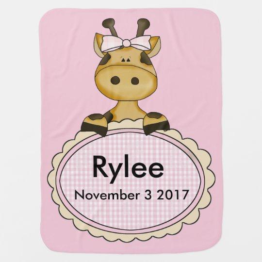 Rylee''s Personalized Giraffe Baby Blankets