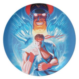 Ryu Versus Bison Dinner Plates
