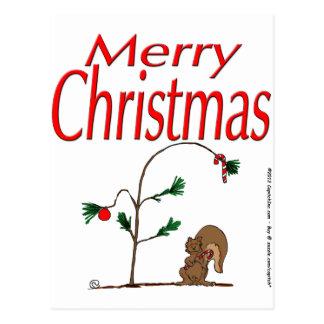 s14 Christmas Squirrel and Humble Christmas Tree Postcard