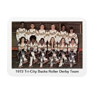 S: 1972 Tri-City Bucks Roller Derby Team Rectangular Photo Magnet
