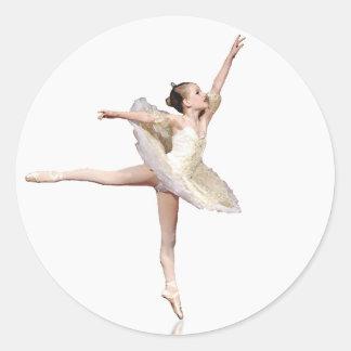 S- Ballerina Girl Classic Round Sticker
