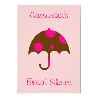 """__'s Bridal Shower"" - Umbrella In Chocolate Brown 5"" X 7"" Invitation Card"