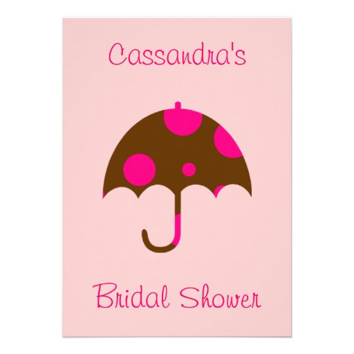 """__'s Bridal Shower"" - Umbrella In Chocolate Brown Custom Announcement"