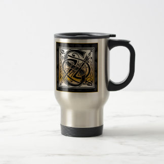 "S ""Celtic Black Stone"" Monogram Travel Mugs"