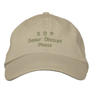 S D P Senior Discount Please Cap