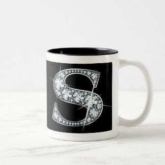 """""""S"""" Diamond Bling on Black Mug"""
