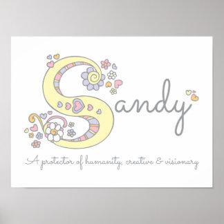 S for Sandy monogram letter art name meaning Poster