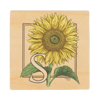 S for Sunflower Floral Alphabet Monogram Maple Wood Coaster