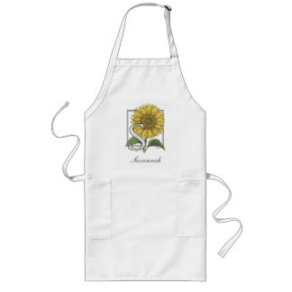 S for Sunflowers Monogram Art Long Apron