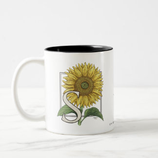 S for Sunflowers Monogram Art Two-Tone Coffee Mug