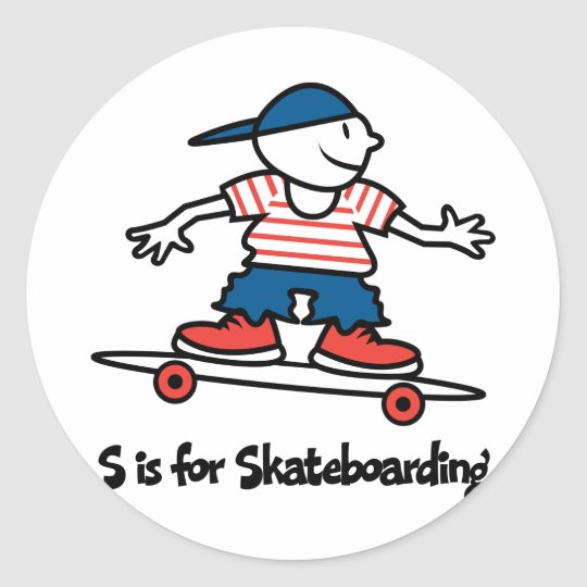 S is for Skateboarding Classic Round Sticker