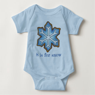 S is for Snow Blue Winter Holiday Snowflake Cookie Baby Bodysuit