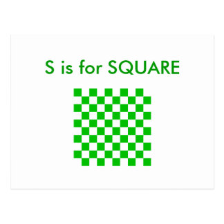 """""""S"""" is for Square Alphabet Flashcard Postcard"""