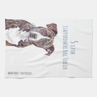 S is for Staffordshire Bull Terrier Kitchen Towel