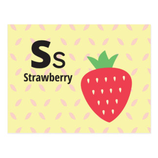 S is for Strawberry - Alphabet Flash Card