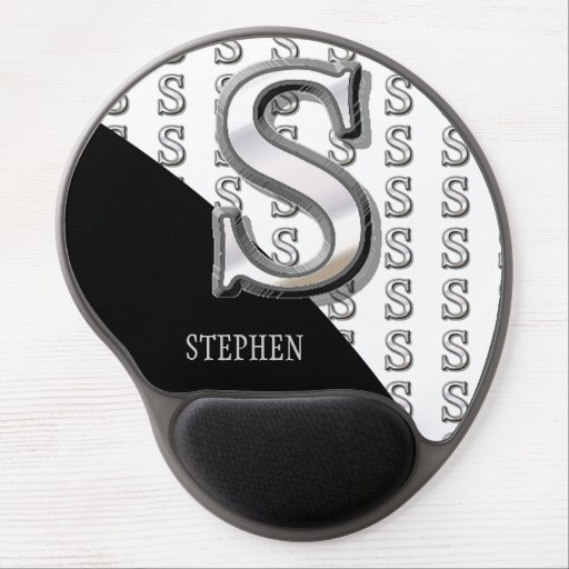 S - Modern Metallic Monogram Gel Mouse Pads