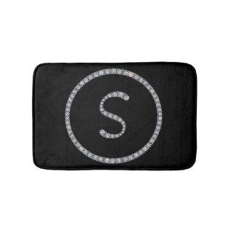 S Monogram bling bath mat rug