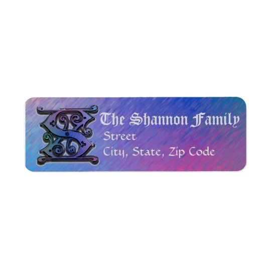 "S Monogram ""Old World Blue"" design Address Lables Return Address Label"
