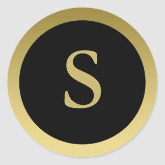 S :: Monogram S Elegant Gold and Black Sticker