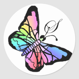 S~My Spring Butterfly initial Classic Round Sticker