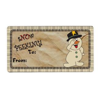 "S""no""w Peeking Snowman Gift Tags   Christmas"