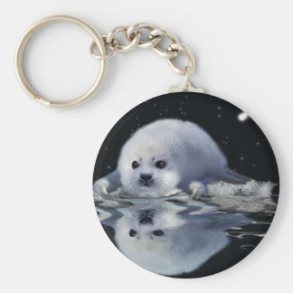 S.O.S. SAVE OUR HARP SEALS BASIC ROUND BUTTON KEYCHAIN