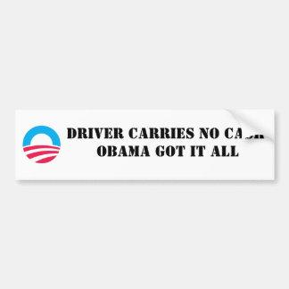 S-RoundObamaSymbol, DRIVER CARRIES NO CASH OBAM... Bumper Sticker