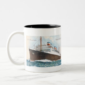 S.S. Manhattan Vintage Ocean Liner Two-Tone Coffee Mug