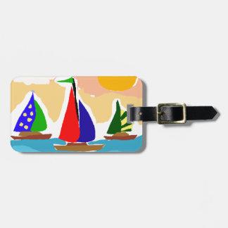 SA- Colorful Sailboat Primitive Art Luggage Tag