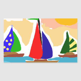 SA- Colorful Sailboat Primitive Art Sticker