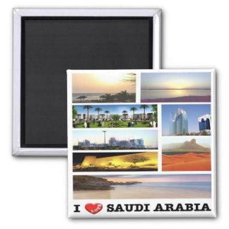 SA - Saudi Arabia - I Love - Collage Mosaic Square Magnet