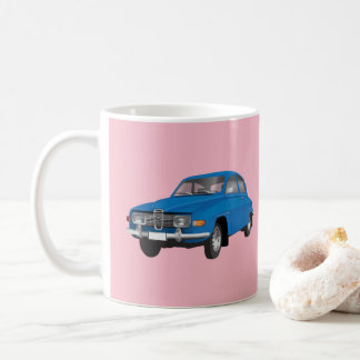 Saab 96, blue, coffee mug