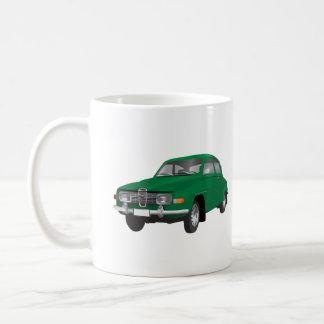 Saab 96, green, coffee mug