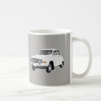 Saab 96, white, coffee mug