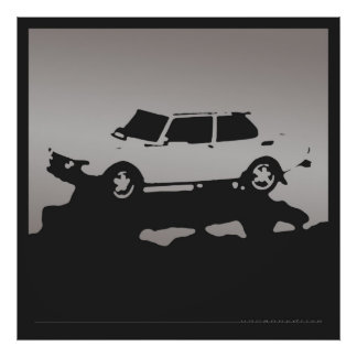 Saab 99 EMS - Silver gray on charcoal black poster