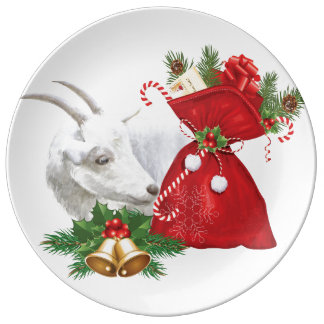 Saanen Goat With Holiday Spirit Porcelain Plates