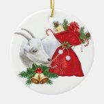 Saanen Goat With Holiday Spirit Round Ceramic Ornament