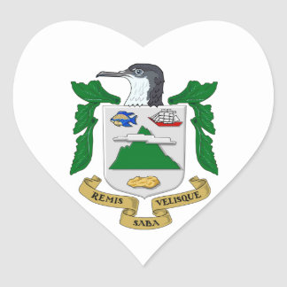 Saba Coat of Arms Heart Sticker