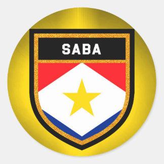 Saba Flag Classic Round Sticker
