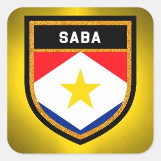 Saba Flag Square Sticker