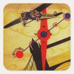 Sabena Art Deco Compass Square Stickers