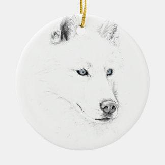 Saber A Siberian Husky Drawing Art Blue Eyes Ceramic Ornament